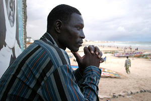[Senegal] Mansour, an illegal migrant from Senegal, refuses to relinquish his dream, 15 August 2006. When the Senegalese government repatriated 99 illegal migrants from the Spanish Canary Islands to the capital Dakar last May, people demonstrated in the s