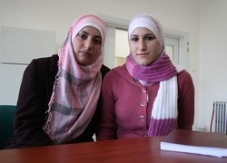[oPt] Cousins Rana and Rasha fear Jerusalem men will snub them for marriage because they do not live within Israel's wall.  [Date picture taken: 11/06/2006]