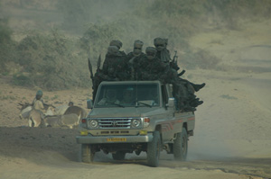 [Chad] Chadian soldiers patrol dirt roads near the Sudanese border. [January 2006]