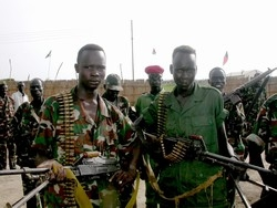 [Sudan] Former SSIM militias now members of the SPLM/A in Rubkona, southern Sudan. [Date Picture taken: May 2006]