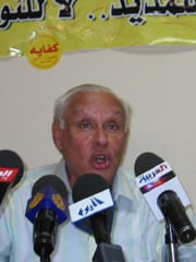 [Egypt] George Ishaq, spokesman and coordinator for Kifaya, introduces the group's new report on corruption in Egypt. [Date picture taken: 07/05/2006]