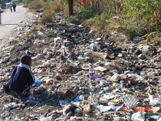 With the collapse of services, urban residents dump garbage at undesignated places.