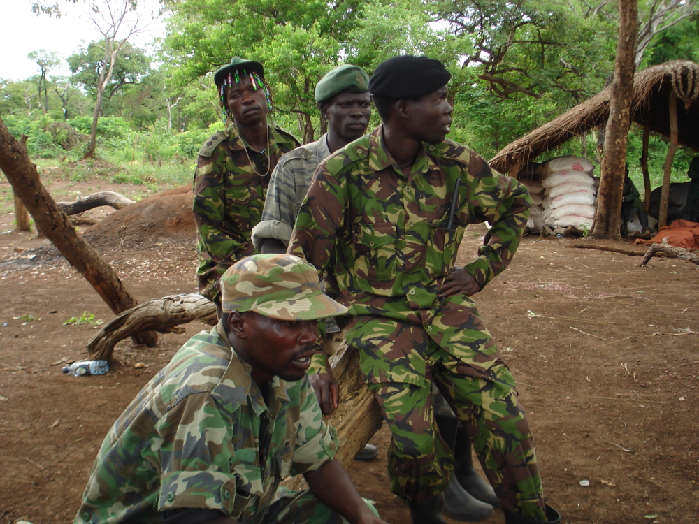 Some of the LRA soldiers sit outside, Sudan, April 2007