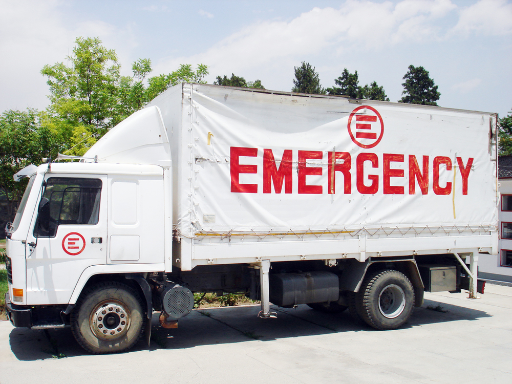 An Emergency truck parked at the organisation's medical facility in Kabul.