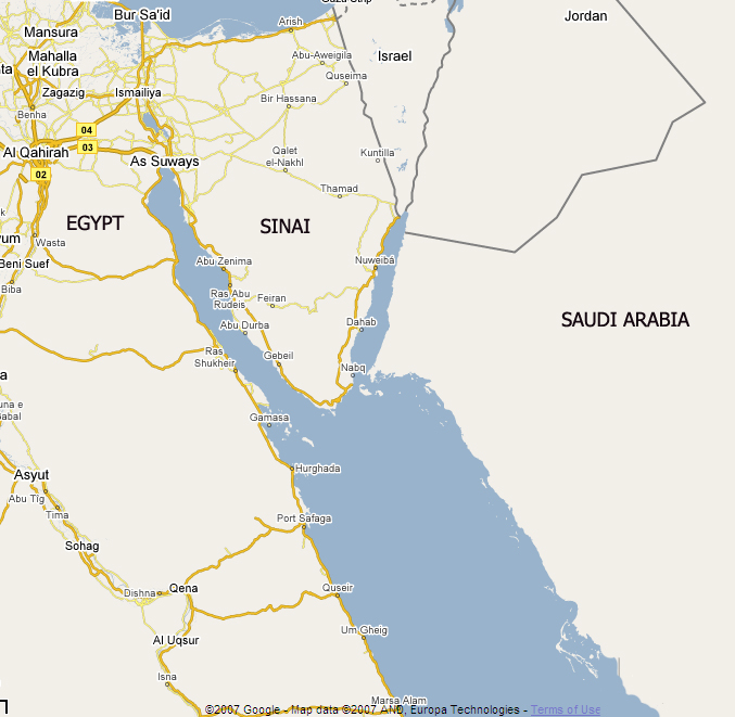 A map of the Sinai peninsula, in Egypt, and the surrounding region.