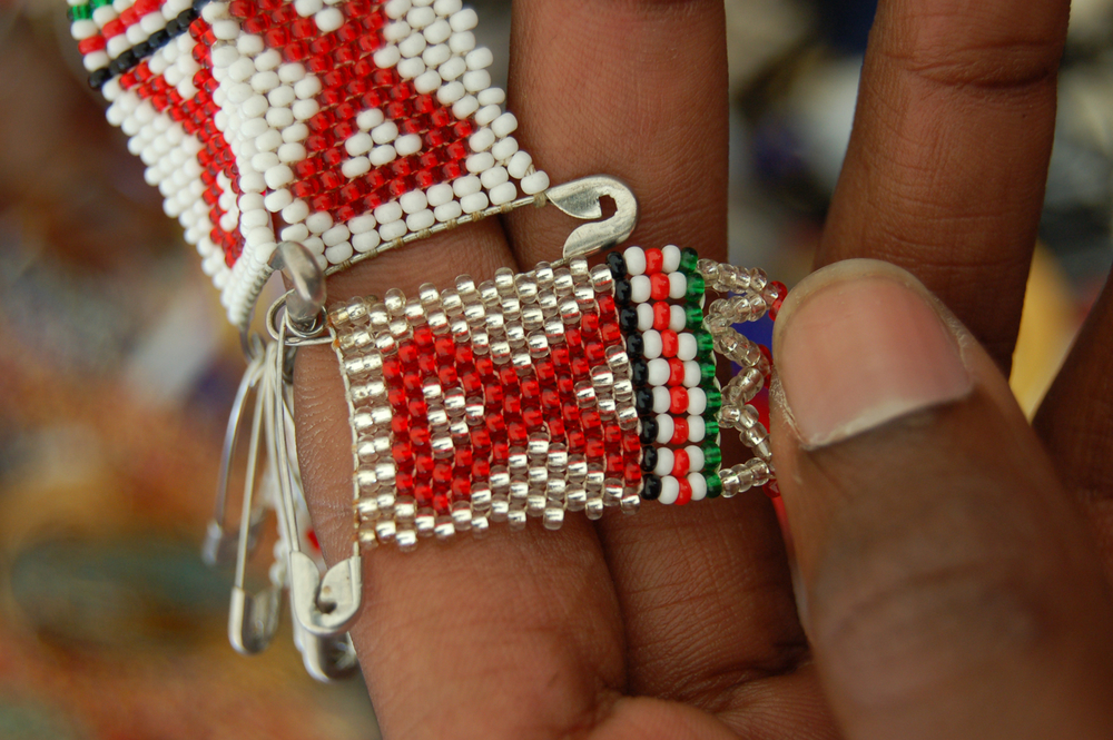 A hand woven bearing the HIV symbol on sale at the Sokoni market in the ongoing Young Women Christian Association conference in Nairobi, Kenya 4 July 2007.