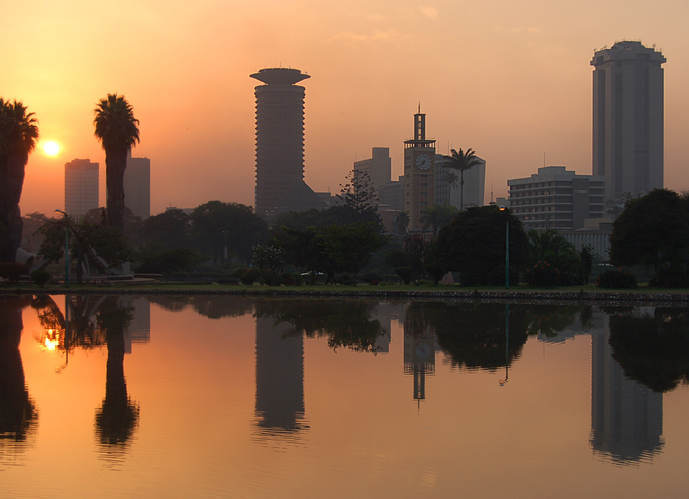 Sun rise in the capital Nairobi, Kenya, July 2007. A series of earth tremors originating from northern Tanzanian have caused panic in the within the vicinity.
