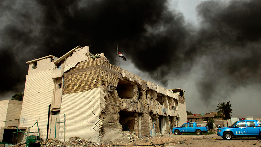 A Baghdad police station bombed on 9 May 2007. Violence in Iraq has reached intolerable levels