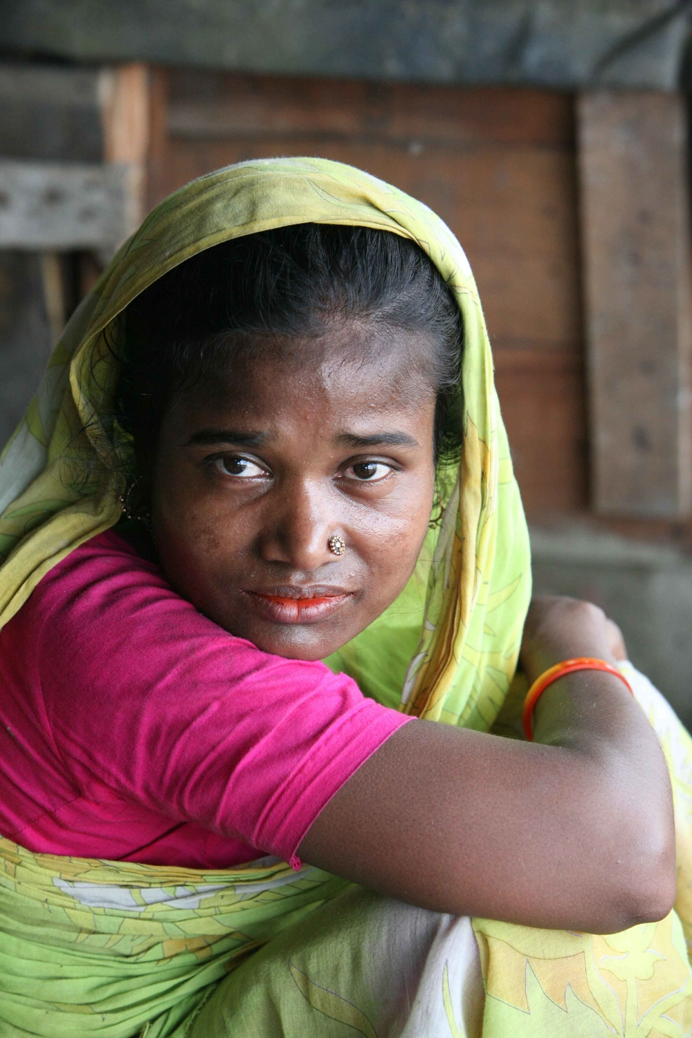 A portrait of one of the women living in the slums of Dhaka, Bangladesh, July 2007. Slums tend to house domestic migrants, sex workers and transport workers.