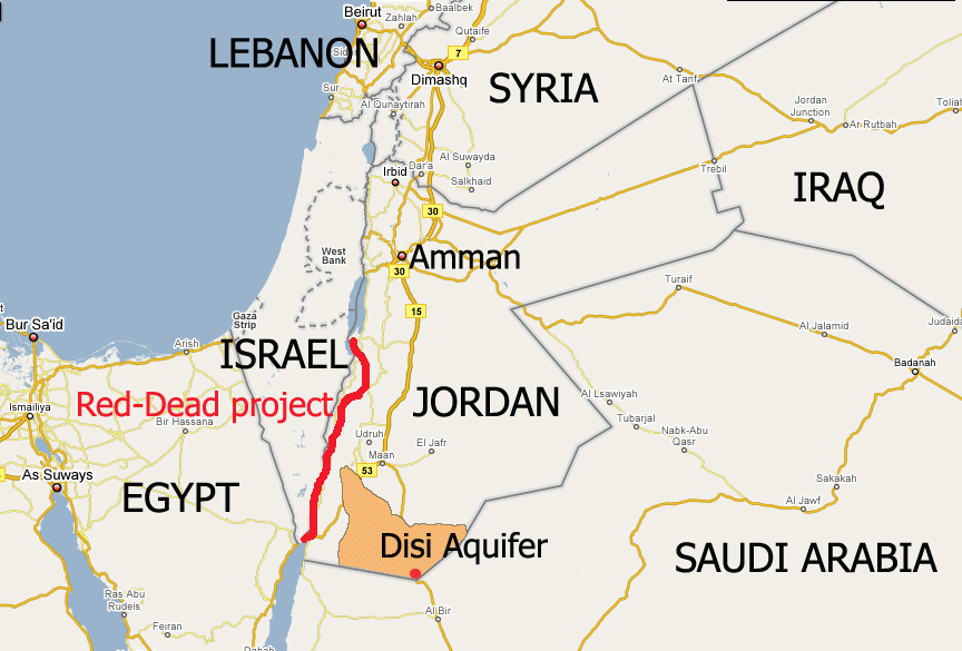 A map of Jordan and the surrounding region highlighting Desi Aquifer and the Red-Dead project.