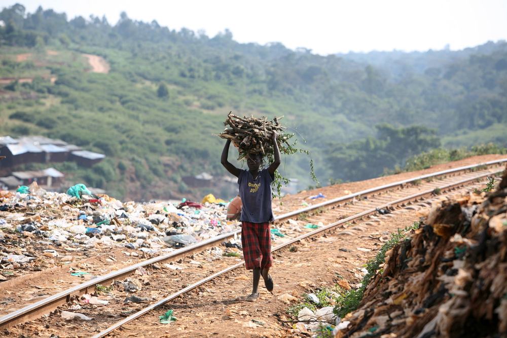 A young girl carrying a load of firewood in Kibera slum, Nairobi, Kenya, October 2007. People are dependent on firewood and paraffin as a source of energy.