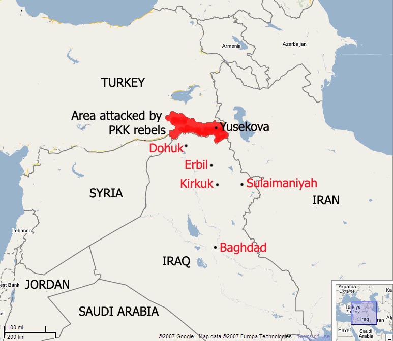 A map of Iraq and the surrounding region highlighting areas where Kurdish PKK rebels have attacked Turkish troops and cities to which Iraqis have fled as a result.
