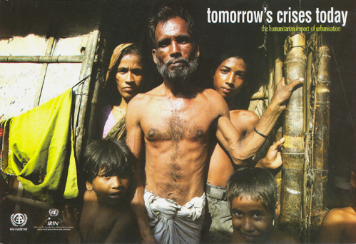 On the cover of IRIN's new book, Tomorrow's Crises Today, a Dhaka slum family stands outside their home in Bangladesh.