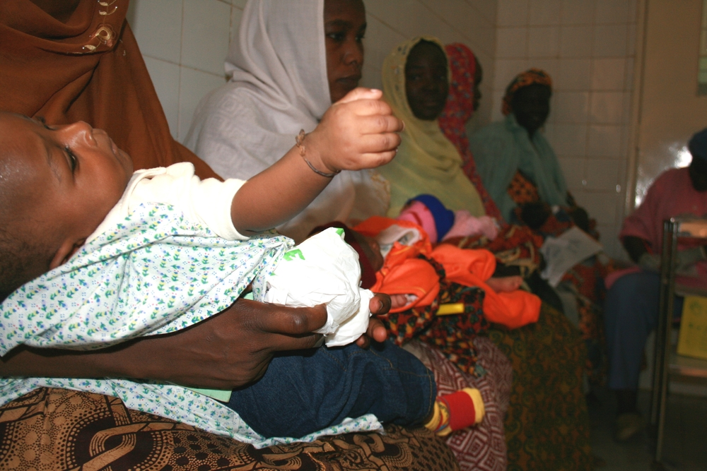 Mothers and children at the Gazouby maternal health hospital in Niamey. These are the lucky ones - most mothers in Niger will never see the inside of a health centre or hospital.