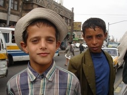[Yemen] Naif al-Ghuzzy, 11, has been selling newspapers on the busy streets of Sana'a for the past two years - one of up to 15,000 children working the streets of the capital, according to Yemen's government. [Date picture taken: 23/06/2007]