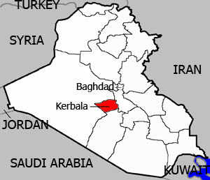 A map of Iraq and surrounding countries highlighting Kerbala Province.
