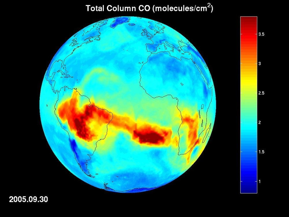 A map of carbon monoxide draped on the globe developed by the Atmospheric Infrared Sounder (AIRS) instrument on NASA's Aqua spacecraft. Developed under the direction of NASA's Jet Propulsion Laboratory (JPL), AIRS measures the key atmospheric gases affect