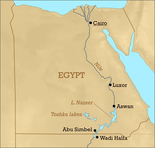 A map showing Lake Nasr and the River Nile's passage through Egypt.
