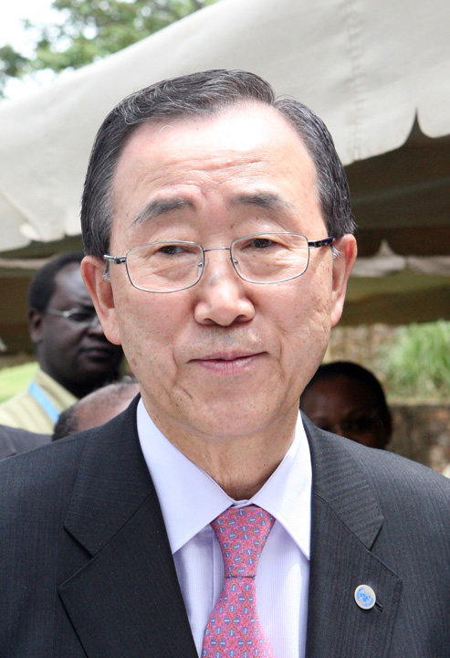 A portrait of UN Secretary General Ban Ki-Moon visiting the UN headquarters in Nairobi 01 Feburary 2008. UN Secretary General has arrived in Nairobi in an attempt to boost efforts to end post-election violenve in Kenya.