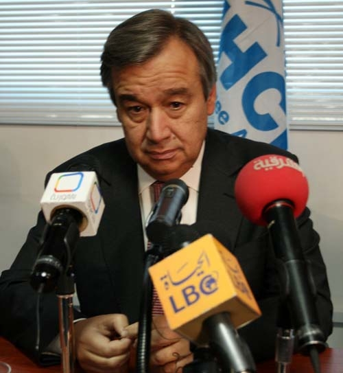 UN high commissioner for refugees Antonio Guterres during hsi week-long trip to the region.