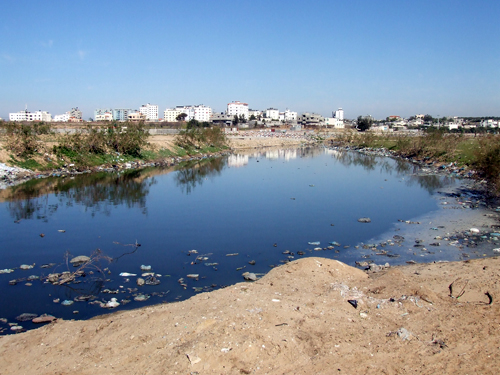 Untreated waste water in Wadi Gaza, near Gaza City, pollutes rivers and eventually the sea, as well as groundwater.