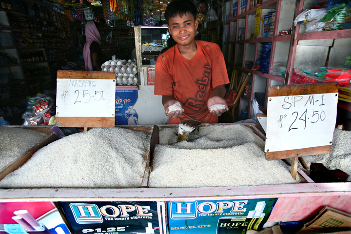 A man sells rice in Minguindano Province, Mandanao Island in the southern Philippines, March 2008.
