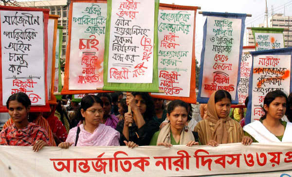 Women rally in the Bangladesh capital Dhaka to mark International Women's Day on 8 March, 2008.
