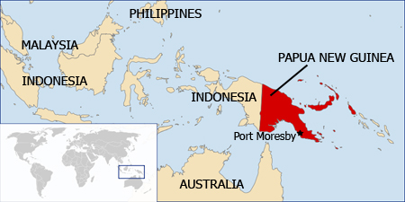 A map of Papua New Guinea and surrounding countries.