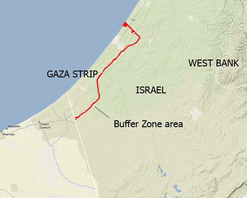 "Israel's ""buffer zone"", in existence for over a decade, has been extended in recent years."