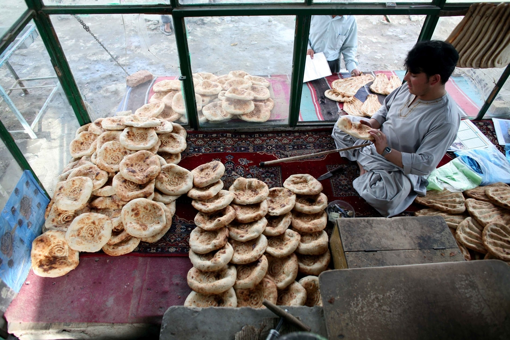Bread for sale in a bakery in Kabul, Afghanistan June 2008. Basic food prices have increased dramatically in past year.