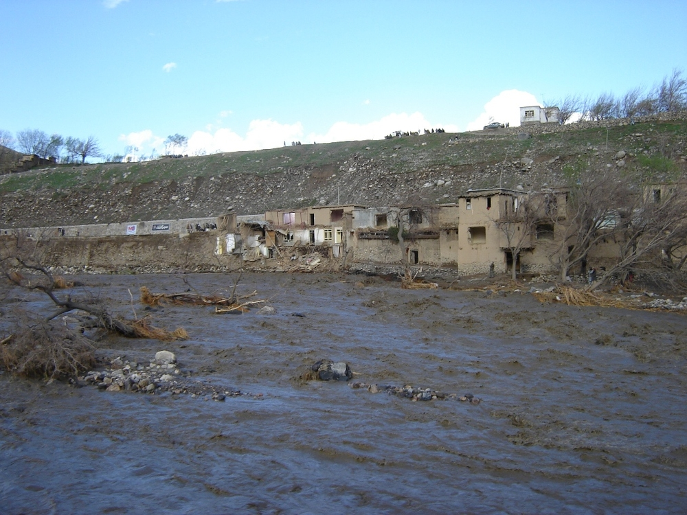 Flash waters damaging a village in the north of Kabul.