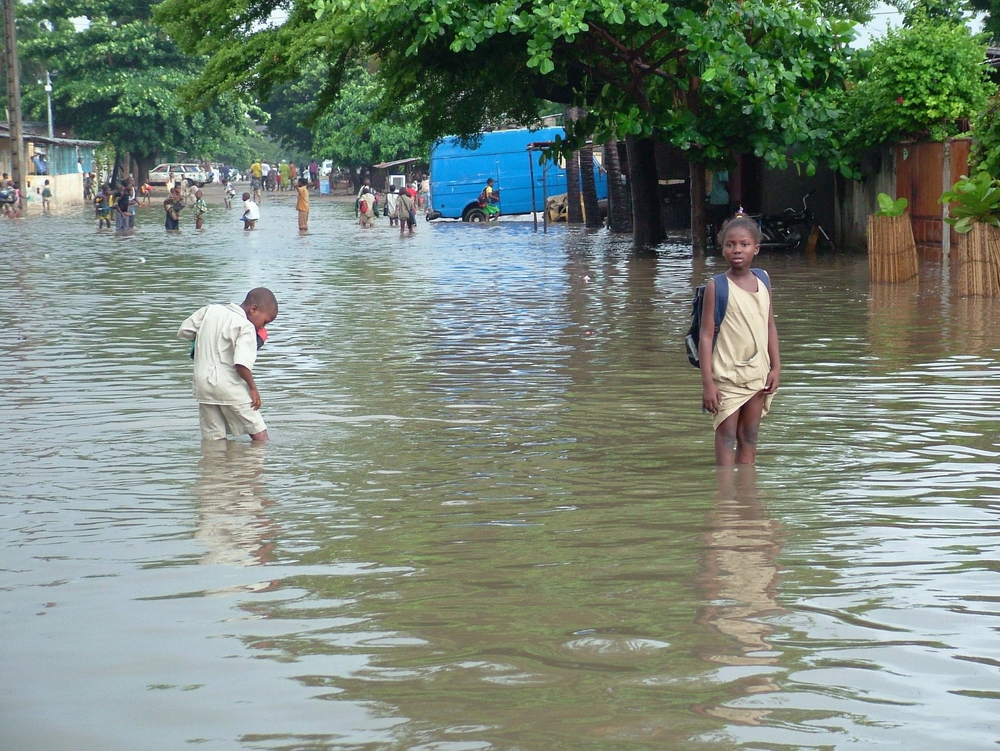 Flood victims in Benin's economic hub Cotonou, in the neighborhood of Senade.