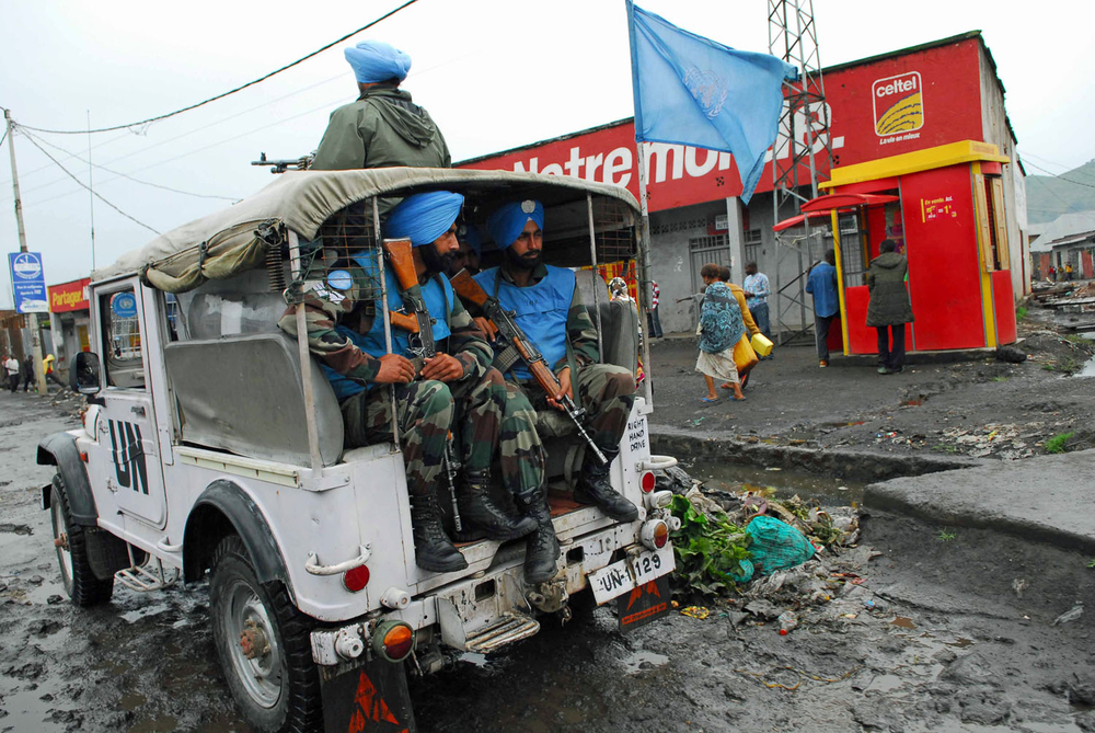 Indian soldiers attached with the UN peacekeeping mission in Congo, known under the acronym MONUC, patrol the streets of the eastern provincial capital, Goma, on Nov. 7, 2008. The UN peacekeeping mission in Congo is the largest of its kind in the world, w