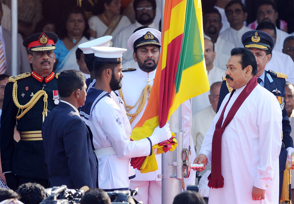 Sri Lankan President Mahinda Rajapakse and his military chiefs at Independence Day celebrations on 4 February. The president announced that the Tamil Tiger separatists would be completely routed in a matter of days