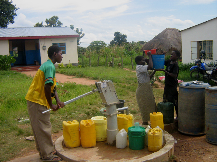 A WaterAid borehole etsablished in Zambia province of Luapula in northern Zambia