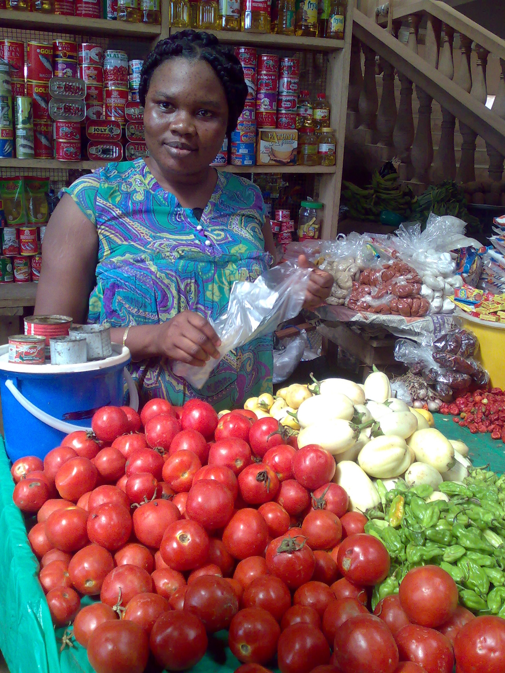 Maame Dufie, market queen at the Abeka Market in Accra. Market queens choose producers and set prices for agricultural goods in most of Ghana's markets.