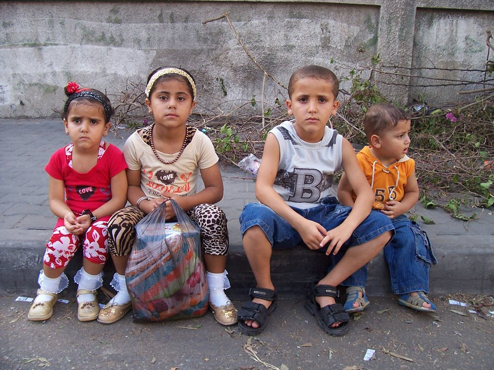 Children waiting for their mother outside As-Shifa, Gaza's primary hospital, where an average of 1,200 babies are delivered per month