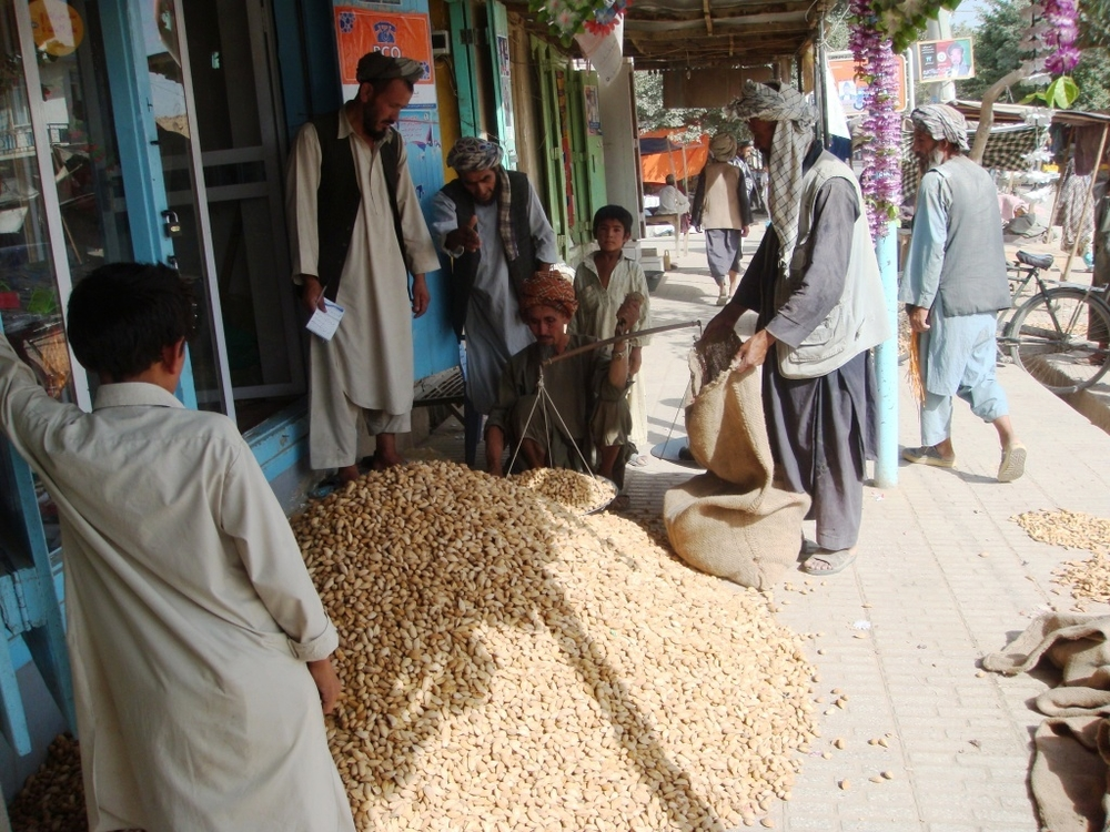 In-shell almond sold at a market in the north of Afghanistan