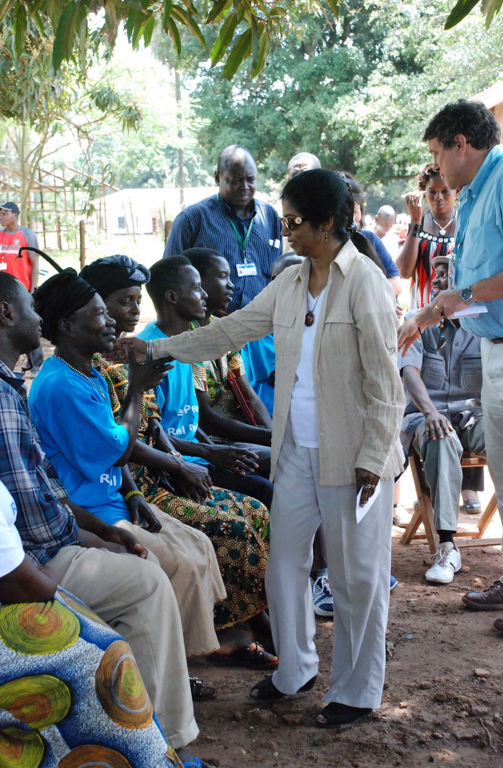 The UN Humanitarian Coordinator in Sudan Ameerah Haq greets Southern Sudanese who have fled their homes during raids by Lord's Resistance Army rebels. Haq visited the town of Yambio, state capital of Western Equatoria, in this Friday 11 September photog