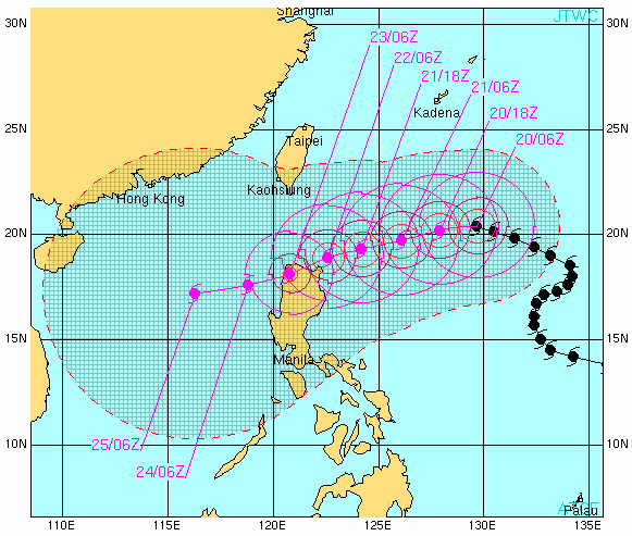 The path (black) and projected path (pink) of Typhoon Lupit, which is expected to make landfall on Thursday