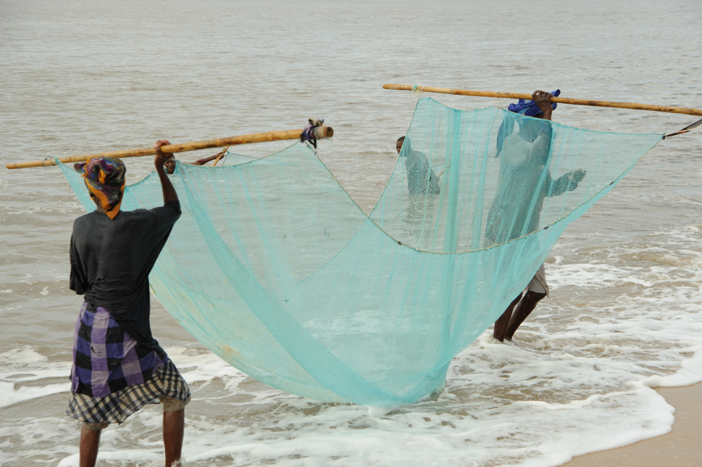 Women fishing with nets on the beach in Beira