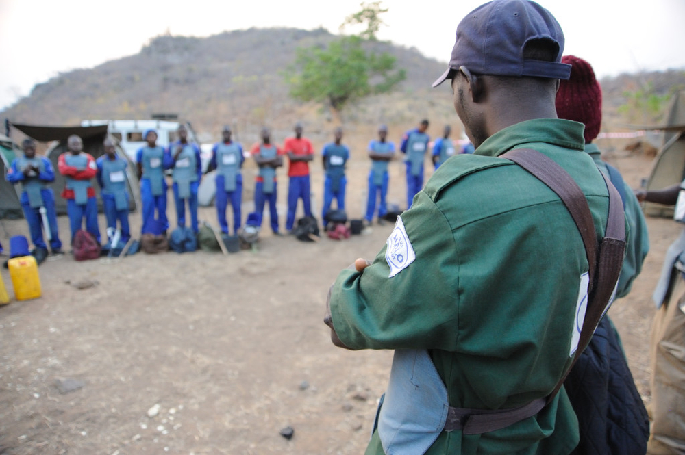 HALO Trust deminers briefed before starting work on minefields close to Mozambique's Cahora Bassa dam
