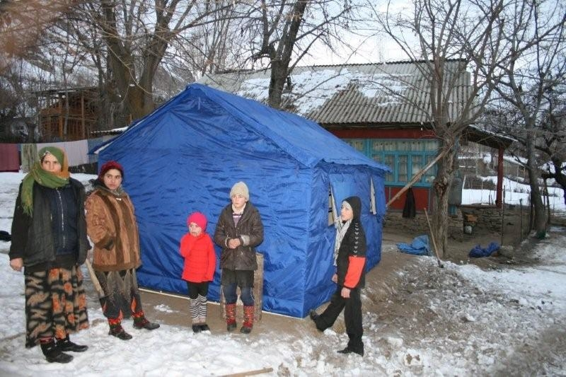 Families in Vanj district in the eastern Gorno-Badakhshan region of Tajikistan have been sleeping in tents in freezing temperatures after their homes were destroyed by an earthquake