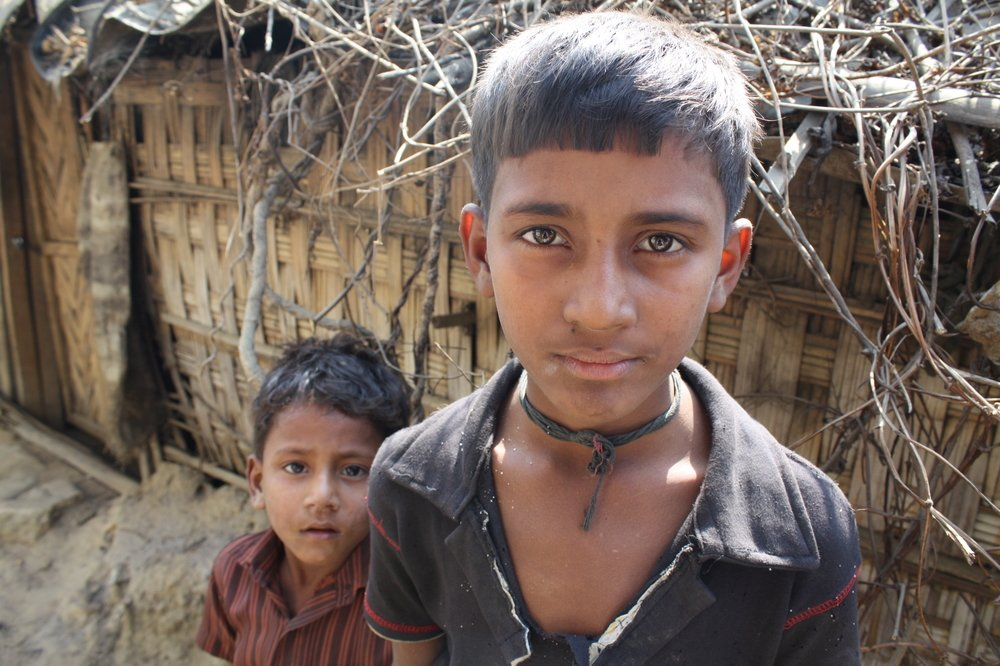 Two Rohingya boys at the Kutupalong refugee camp outside Cox's Bazar, where some 11,000 documented refugees live