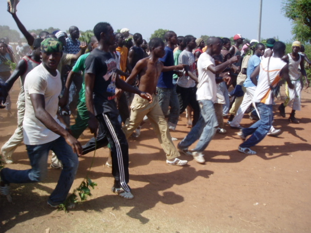 Youths in Odienné, northern Côte d'Ivoire, protesting the decision of President Laurent Gbagbo to dissolve government and the electoral commission. February 2010