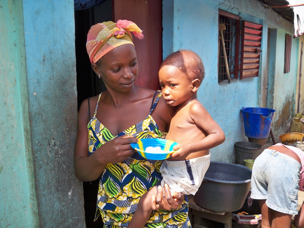 A child who underwent treatment for malnutrition, during a follow-up visit by Helen Keller International. December 2009