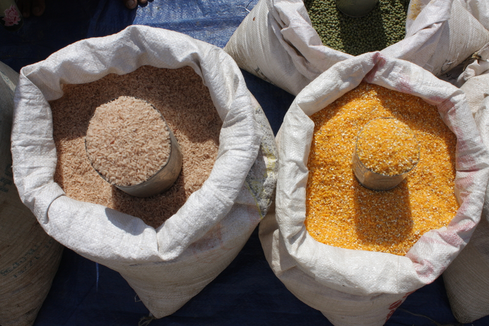Rice and maize sold in an open market in rural Timor-Leste