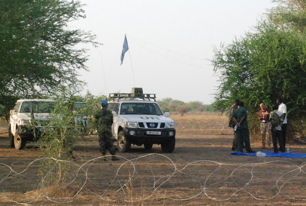 A temporary base of a UNMIS peacekeeping patrol, guarding international military observers on a long range patrol in Mayom, in the south's Unity state, in this March 11 photograph