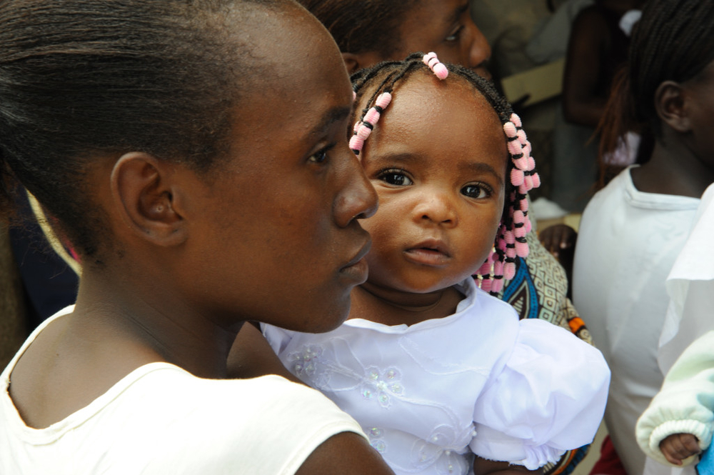 A mother and her baby at a Lubango, Angola, maternal health care clinic