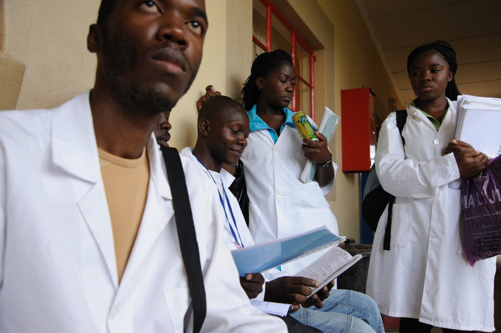 Nurses being trained at a college in Lubango, Angola